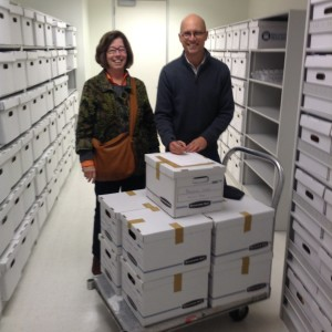 Kathie Manthorne and Archives of American Art collections specialist Jason Stieber, with the Bernard Chaet papers.